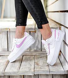 Жіночі кросівки Nike Air Force Shadow White Pink, Найк Аір Форс