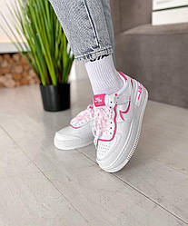 Женские кроссовки Nike Air Force Shadow White Pink, Найк Аир Форс