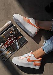 Женские кроссовки Nike Air Force Shadow White Coral, Найк Аир Форс