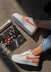Жіночі кросівки Nike Air Force White Shadow Coral, Найк Аір Форс
