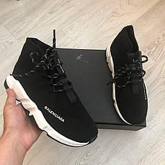 Женские кроссовки Balenciaga Speed Lace-Up Black/White, Баленсиага Спид