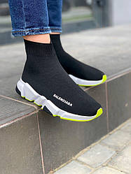 Женские кроссовки Balenciaga Speed Trainer Black White Neon Green, Баленсиага Спид Треинер