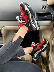 Женские кроссовки Balenciaga Triple S Red/Black, Баленсиага Трипл С