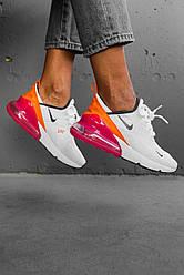 Женские кроссовки Nike Air Max 270 White/Pink, Найк Аир Макс 270
