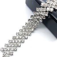 Стразовая цепь шахматка кристалл прозрачная (цена за 10см)