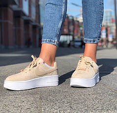 Женские кроссовки Nike Air Force Beige Sage, Найк Аир Форс