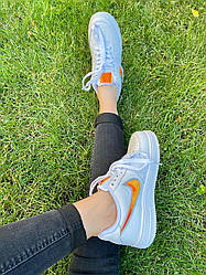 Женские кроссовки Nike Air Force 1 Low Jewel White & Orange, Найк Аир Форс 1