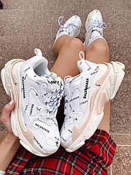 Женские кроссовки Balenciaga Tripl S Logo White, Баленсиага Трипл С