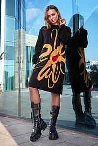 Чорна сукня Zемфира з гірчичним принтом