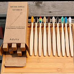 Набор бамбуковых зубных щеток 10 штук Разноцветный hubcroq90245, КОД: 1572946