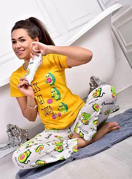 Піжама жіноча жовта футболка і штани код П247
