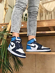 Кроссовки Nike Air Jordan 1 Retro High Patent Blue Toe, Найк Аир Джордан