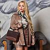 Жіночий стильний костюм зі штучної шкіри: сорочка на кнопках і шорти-бермуди, батал великі розміри, фото 4