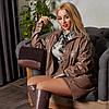 Жіночий стильний костюм зі штучної шкіри: сорочка на кнопках і шорти-бермуди, батал великі розміри, фото 6