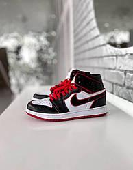 Кроссовки Nike Air Jordan Retro1 Black Red, Найк Аир Джордан