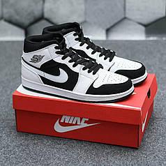 Кроссовки Nike Air Jordan Retro1 Black White, Найк Аир Джордан