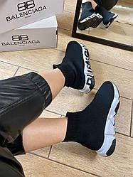 Кроссовки Balenciaga Speed Trainer Black/White Graffiti, Баленсиага Спид Треинер