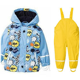 Костюм для мальчика водонепроницаемый куртка Boom и жёлтые штаны комбинезон Lupilu р.122/128см