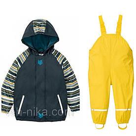 Костюм водонепроницаемый синяя куртка рукава в полоску и жёлтые штаны комбинезон Lupilu р.122/128см