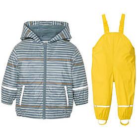 Костюм водонепроницаемый куртка в полоску и жёлтые штаны комбинезон Lupilu р.122/128см
