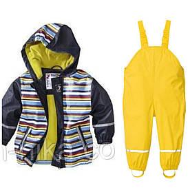 Костюм водонепроницаемый синяя куртка в полоску и жёлтые штаны комбинезон Lupilu р.122/128см