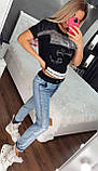 Женский  летний костюм с джинсами (Турция); разм С,М,Л,ХЛ (норма) и баталы 44 46 48 50 турецк разм, фото 4