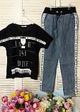 Жіночий літній костюм з джинсами (Туреччина); розмір С,М,Л,ХЛ (норма), фото 2