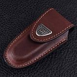 Чехол для ножей Victorinox (84-91мм, 2-4 слоя) на липучке, кожаный, коричневый 4.0533, фото 3