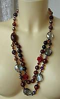 Ожерелье женское колье бусы натуральный камень сердолик хрусталь 4468, фото 1