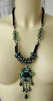 Ожерелье женское колье бусы натуральный камень агат хрусталь 4471