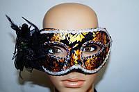 Венецианская маска Черный цветок с золотом