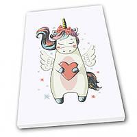 Картина на холсте в детскую Kronos Top Единорог с сердечком 30 х 40 см lfp10637919353040, КОД: 941731