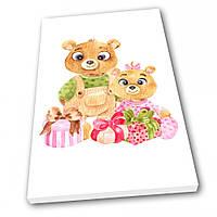 Картина на холсте в детскую Kronos Top Мишки с подарками 50 х 70 см lfp12150053685070, КОД: 941698