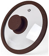 Крышка стеклянная Fissman ARCADES 26 см с силиконовым ободом Темно-коричневый мрамор psgFN-9969, КОД: 1482324