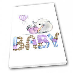 Картина на холсте в детскую Kronos Top Baby Слоник девочка 40 х 60 см lfp6930431924060, КОД: 941768