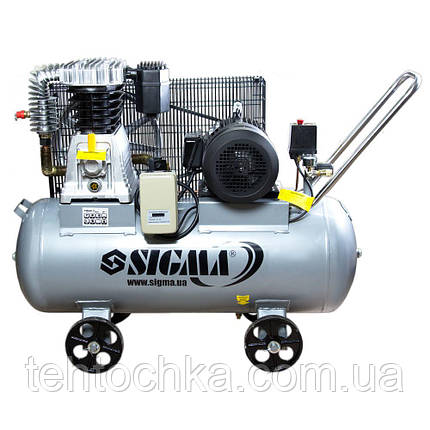 Компрессор ременной двухцилиндровый 380В 4кВт 678л/мин 10бар 100л SIGMA (7044521), фото 2