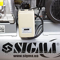 Компрессор ременной двухцилиндровый 380В 4кВт 678л/мин 10бар 100л SIGMA (7044521), фото 3