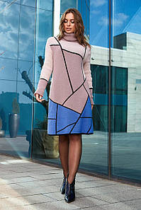 Тепла в'язана сукня Лора пудра з блакитним