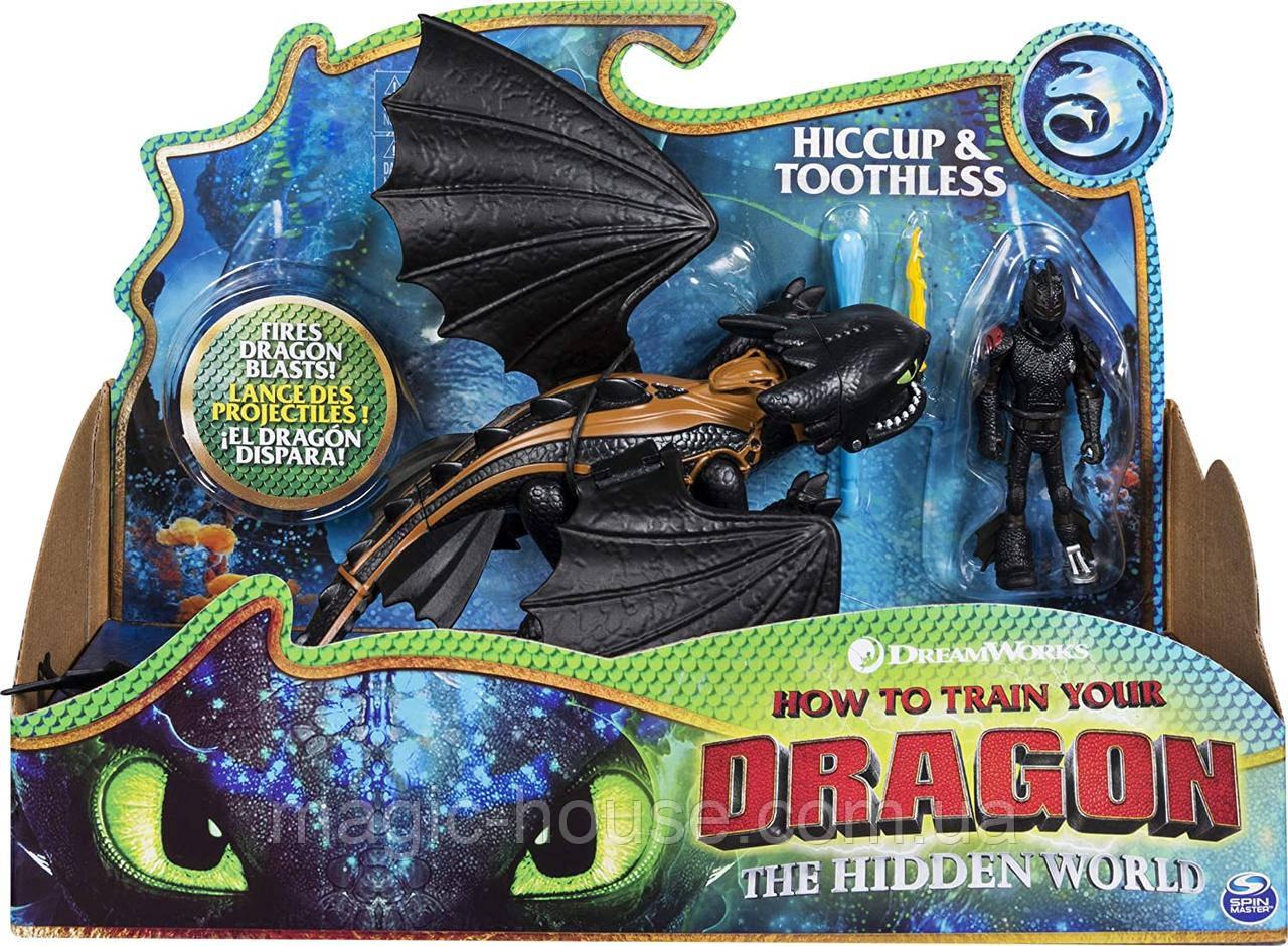 Игровой набор фигурок Дракон Беззубик и виккинг Иккинг оригинал от spin master