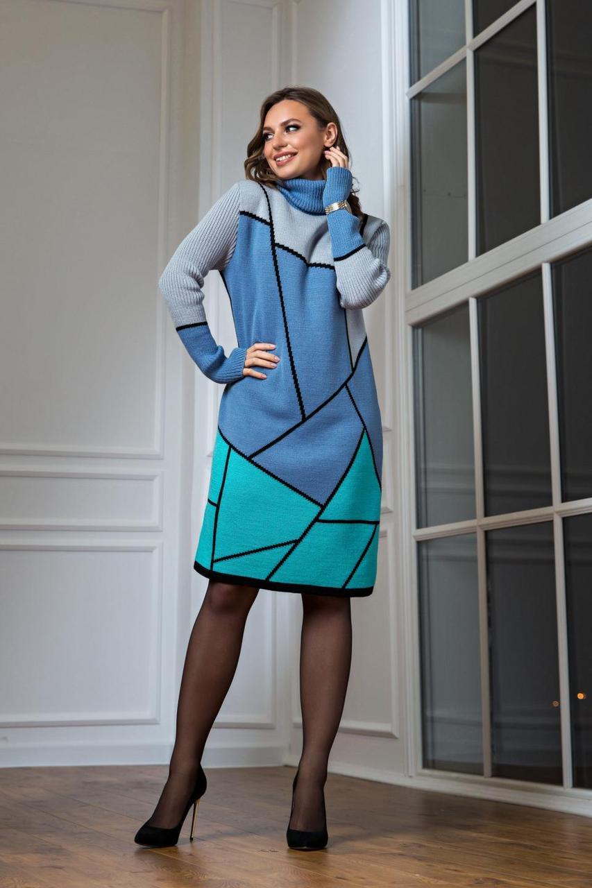 Тепла в'язана сукня Лора аквамарин з м'ятою