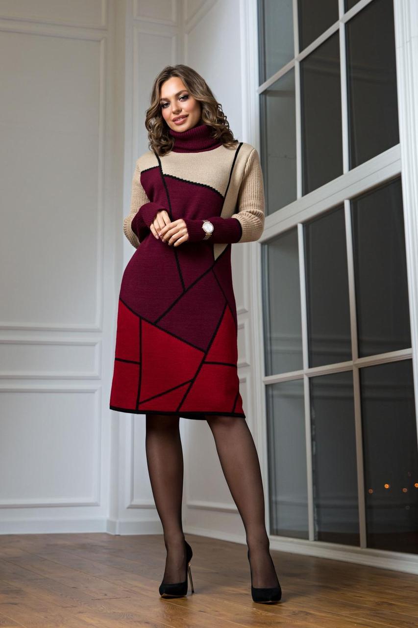 Теплое вязаное платье Лора бордо с вишней