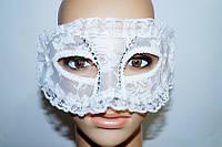 Карнавальная маска Белый гипюр и стразы