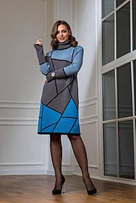 Тепла в'язана сукня Лора графіт з бірюзою