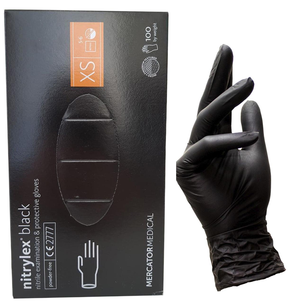 Перчатки нитриловые черные XS 100 шт