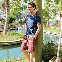 Мужской костюм с шортами WILLIAM от CASUAL AVENUE, размер L Old Red - Deep Blue