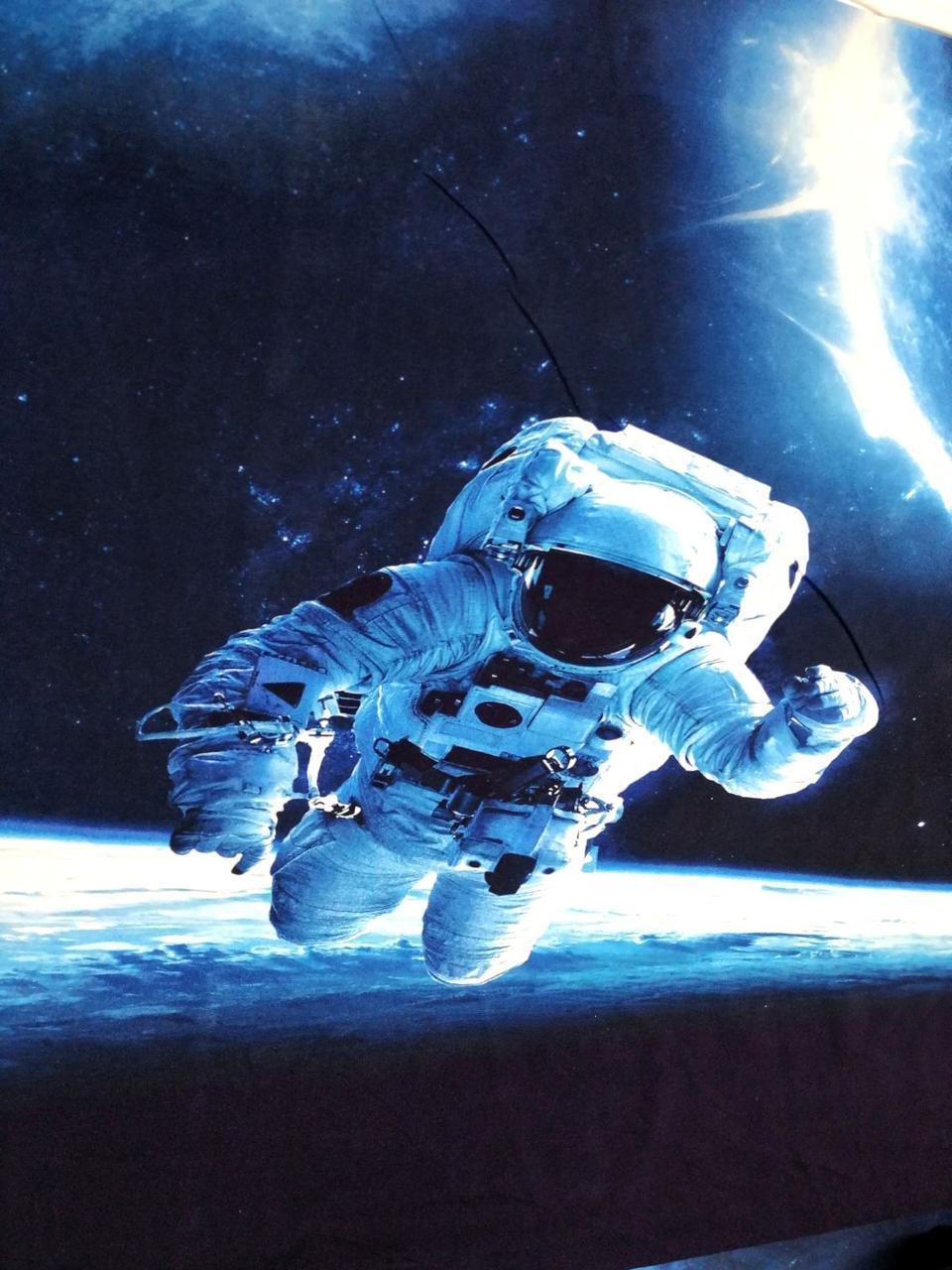 """Стрейч кулір принт """"Космонавт + галактика"""" 2 панельки висота 65см ширина 70 див. (діджитал)."""