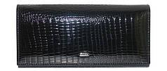Кошелек кожаный женский лаковый на магните с монетницей внутри Черный Balisa B826-6