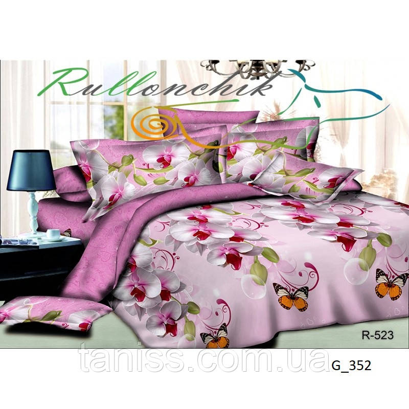 """Евро комплект постельного белья Бязь """"Gold"""", расцветка как на фото , орхидеи"""