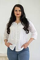 Стильна літня жіноча ажурна біла батистова блуза №2024