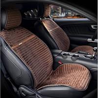 Накидка на сидения из алькантары коричневые Elegant Napoli 700 215 (передние), фото 1